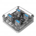 Orico хъб USB3.0 HUB 4 port transparent - MH4U-U3-03-CR