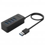 Orico хъб USB3.0 HUB 4 port - USB/Micro USB input, 1m cable - W5P-U3-100-BK-PRO